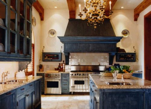Indigo kitchen! I love it! Nice and rustic, with a touch of old world flare!