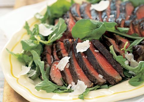 Porterhouse Steaks with Arugula and Parmesan Cheese Tradition dictates ...
