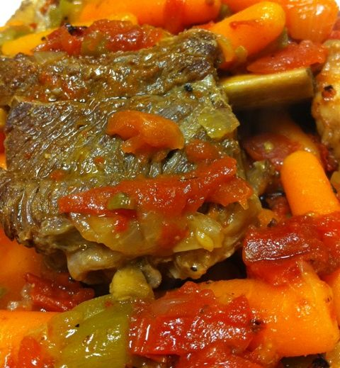 Beef Short Ribs with Carrots, Peppers, and Tomatoes