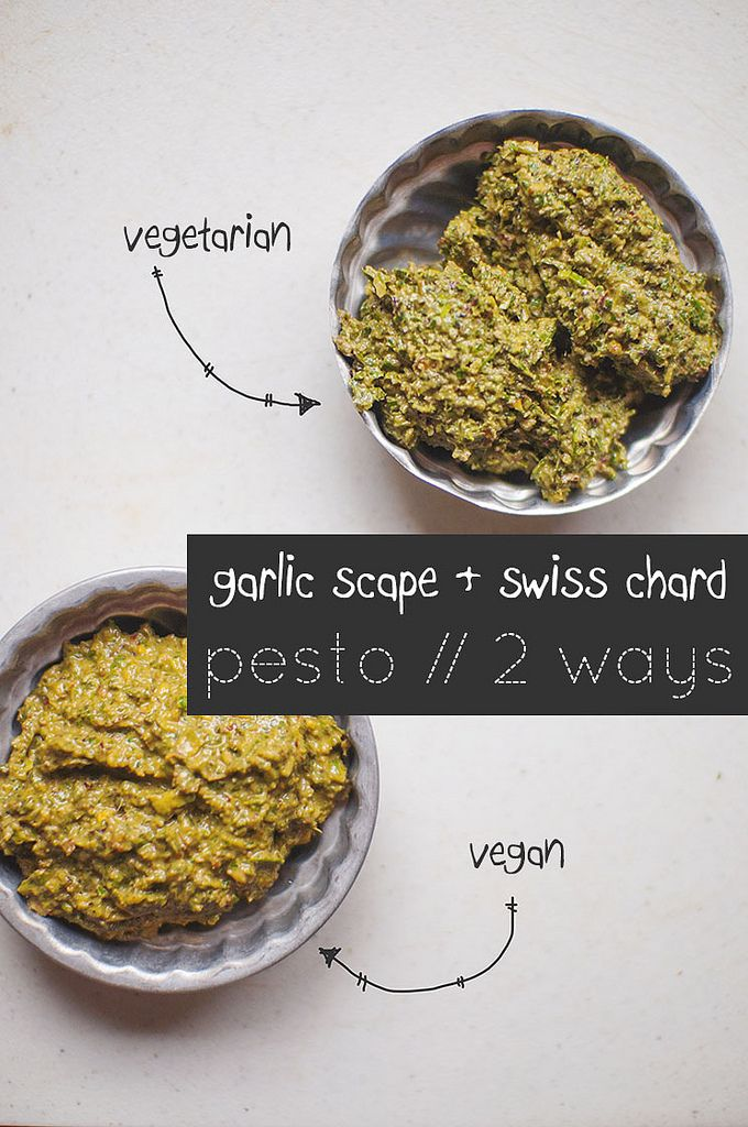 Garlic Scape Swiss Chard Pesto, 2 Ways // Shew, spicy, cut the garlic ...