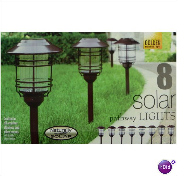 naturally solar 8 pc solar pathway lights. Black Bedroom Furniture Sets. Home Design Ideas