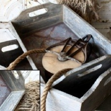 """Antiqued"" Wood Trays, Set of 2    $32.00 @ http://www.antiquefarmhouse.com/current-sale-events/poor-chic.html"