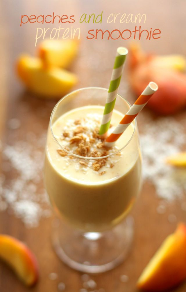 Peaches 'n' Cream Protein Smoothie -- thick, creamy, and boasting a ...