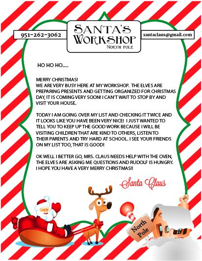Hear from Santa Claus! Receive a letter, phone call, email and more