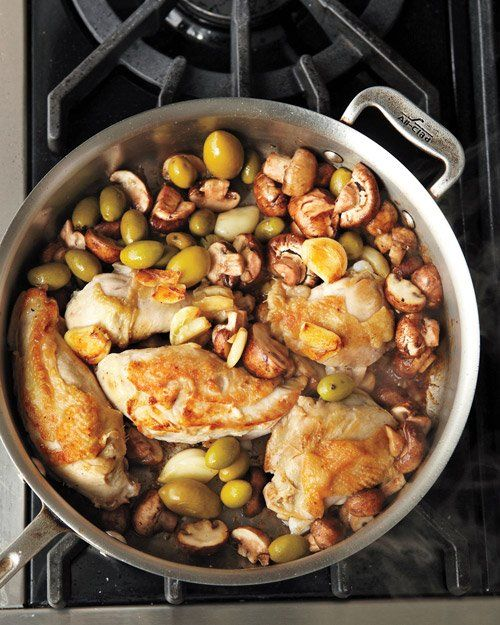 Garlic-Braised Chicken with Olives and Mushrooms Recipe | Martha ...