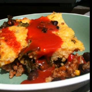Enchilada Casserole with Kale, Ground Turkey and a crispy polenta ...