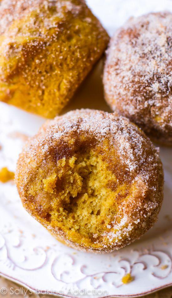 Perfect pumpkin muffins coated with cinnamon sugar. They taste like ...