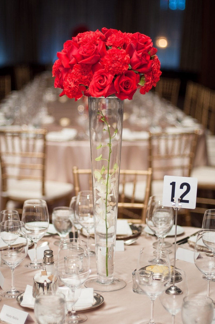 Carnations and roses centerpiece red one fine day