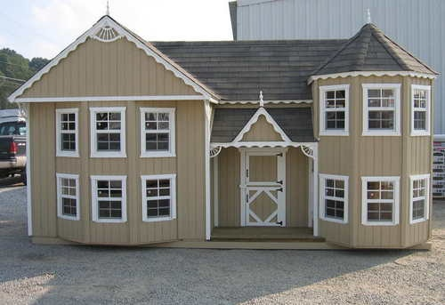 Victorian Backyard Floored Playhouse : 10×18 HandCrafted Victorian Mansion Playhouse is an architectural