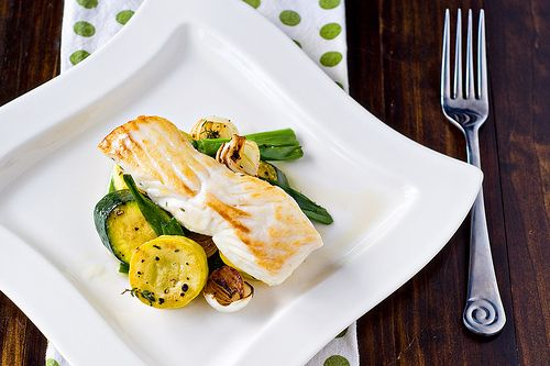 Halibut With Spring Onion And Summer Squash Saute Recipe — Dishmaps
