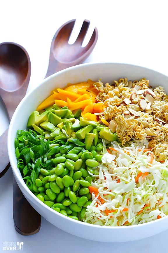 Crunchy Asian Ramen Noodle Salad -- made with fresher ingredients, and ...