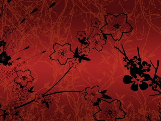 Чёрные цветы на красном фоне фрактал