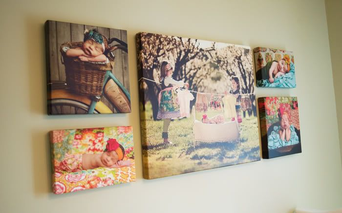 Wall Arrangement of Canvas Prints With Newborn Portraits