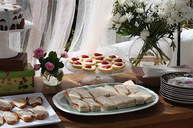 strawberry tarts finger sandwiches baby girl shower inspiration