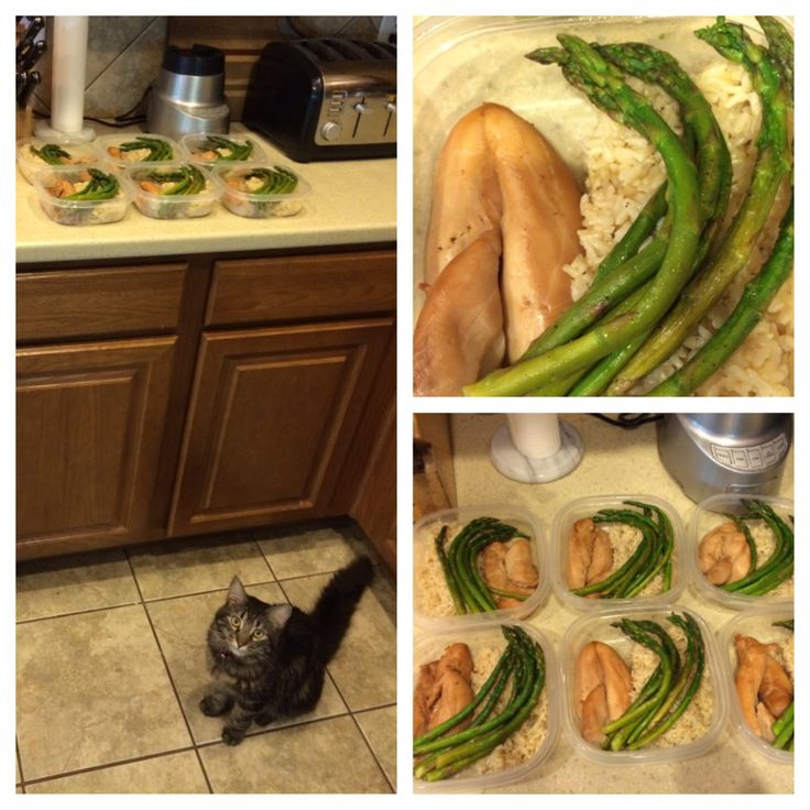 Chicken (with teriyaki marinade), asparagus, and brown rice! Meal prep ...
