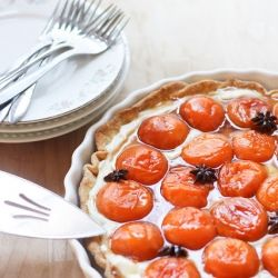 Honey Roasted Apricot Tart with Mascarpone and Star Anise