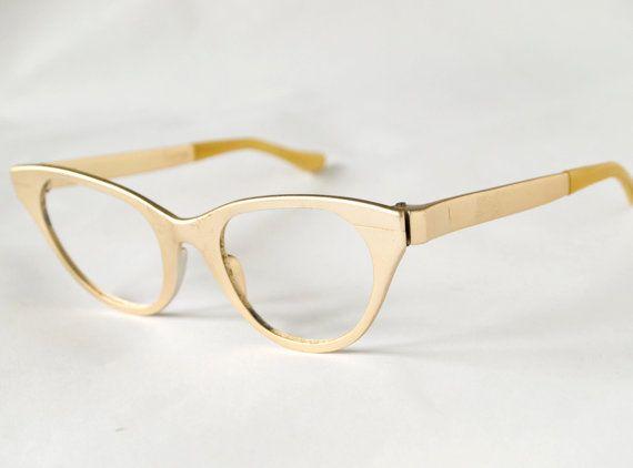 Gold Frame Cat Eye Sunglasses : Vintage 1950s Gold Metallic Cat Eye Glasses Frame - Tura 46-23