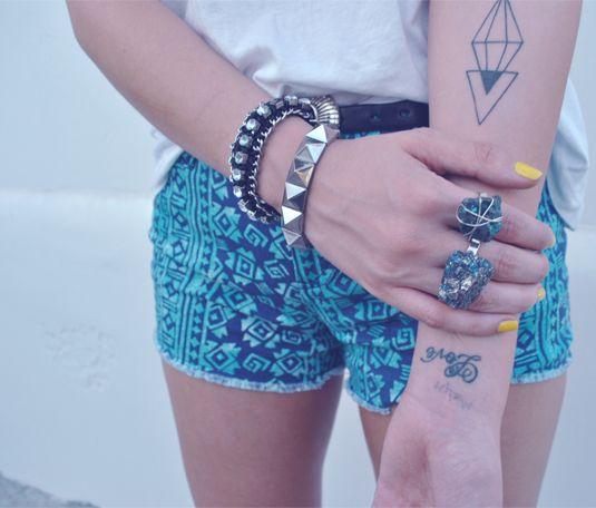 """Tattoo / Triangles on Arm / #tattoo """"ink #geometric #triangle #arm #word #text #summer"""
