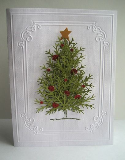White Embossed Green Pine Tree Card...using punches to achieve the 3D pine tree look.