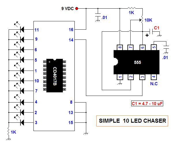 simple 10 led chaser circuit diagram electronic circuits