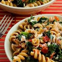 Vegetarian Whole Wheat Pasta Recipe with Fried Kale, Tomato Sauce, and ...