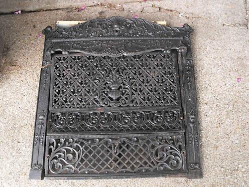 Antique Cast Iron Ornate Victorian Fireplace Insert Gas