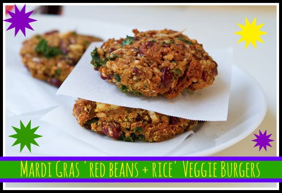 "Red Beans and Rice ""Mardi Gras"" Veggie Burger"
