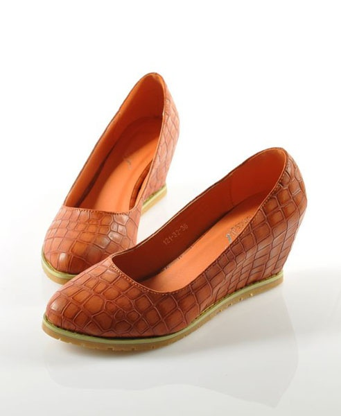 Orange Wedge Shoes with Snake Skin Print