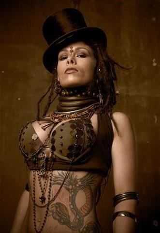 Cool steampunk tattooed woman
