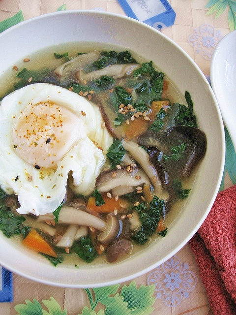Kale Mushroom Soup with Poached Egg   Dinner tonight?   Pinterest