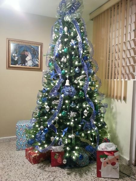 Christmas tree with blue ribbon decorating for christmas pinterest