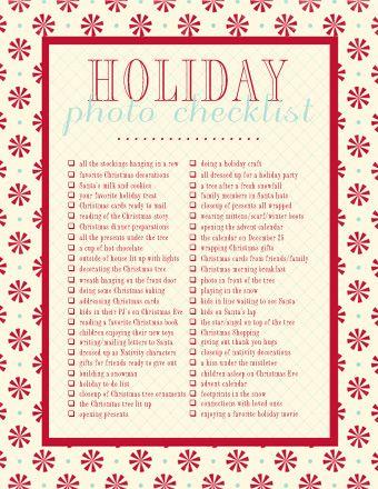Photo Checklist For Christmas.