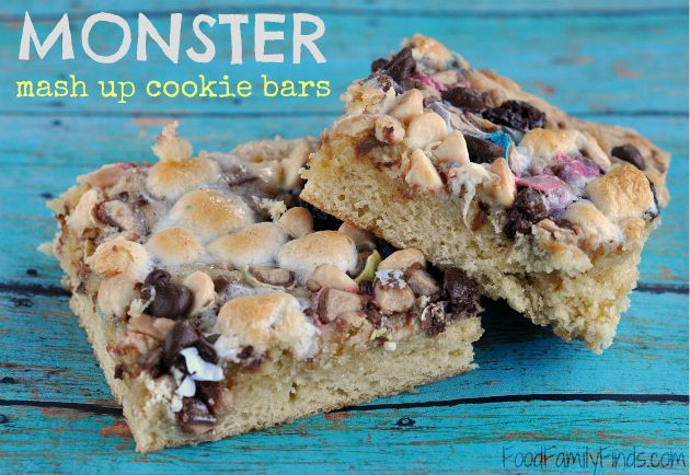 Bars with a chocolate chip cookie base and loads of chocolate, toffee ...