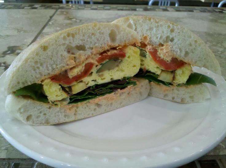... Vegetable Ciabbata Egg Sandwich with sun dried tomato cream cheese