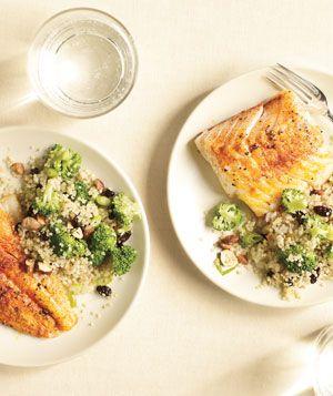 Spiced Cod with Broccoli-Quinoa Pilaf | Get the recipe: http://www.realsimple.com/food-recipes/browse-all-recipes/spiced-cod-with-broccoli-quinoa-pilaf-00000000049718/