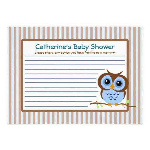 owly blue baby shower advice card invite