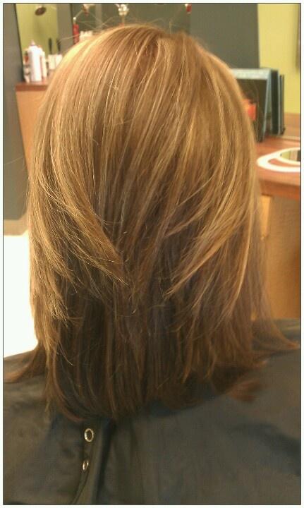 Hair color cut highlight caramel honey lob hair for A j pinder salon grand rapids