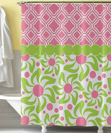 pink green dizzy daisy shower curtain