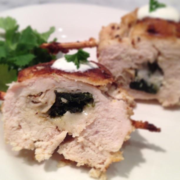 Homemade Chicken Cordon Bleu. Stuffed chicken breast with cilantro ...