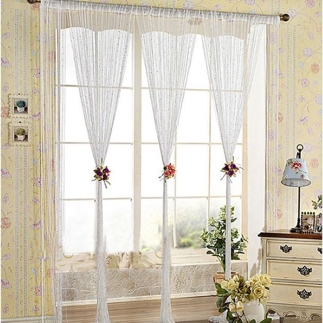 String curtain with bead sequin spangle fringe panel door ider whi