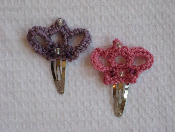 Crochet Hair Clips : Crochet Crown Hair clip by TatisAccessories on Etsy, $3.00 REYES ...