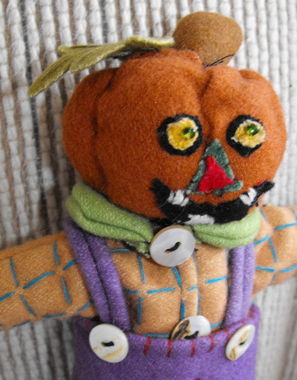 Halloween embroidered pumpkin doll one of a kind collectible 17 00