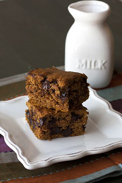 Almost Healthy Pumpkin Chocolate Chip Squares - these were so easy to ...