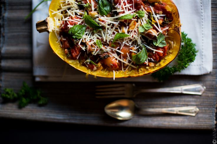 BUTTER ROASTED TOMATO SAUCE WITH FRESH HERBS & SPAGHETTI SQUASH