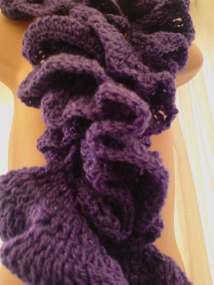 Crochet Yarn Twists : Handmade Crochet RUFFLE and Twist SCARF Purple and sparkly yarn ID NC ...