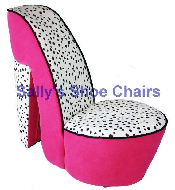 Child sized pink dalmatian high heel shoe chair shoechair furniture