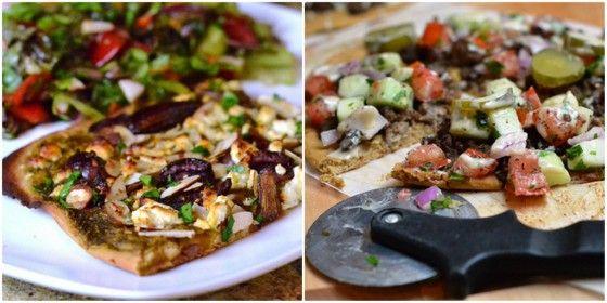 chickpea flour pizza, mediterranean pizza, shawarma pizza