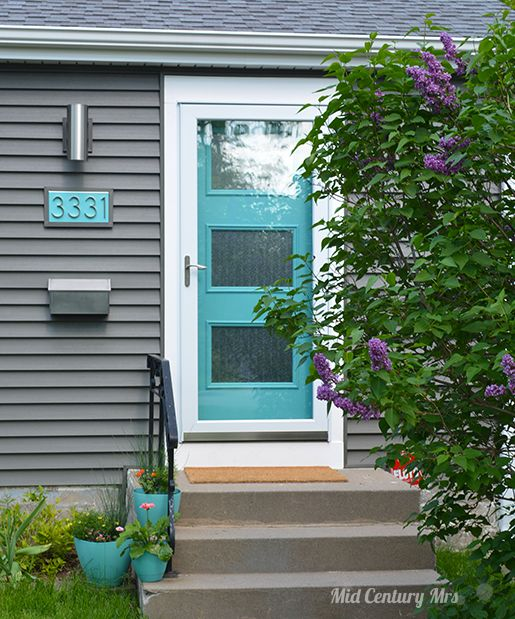 Thermatru Pulse Door In Teal Zeal Mid Century Exteriors