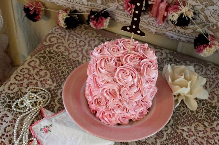 Pink Rosette Frosted Smash Cake