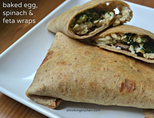 Baked Egg, Spinach &Feta Breakfast wraps are filled with eggs, spinach ...